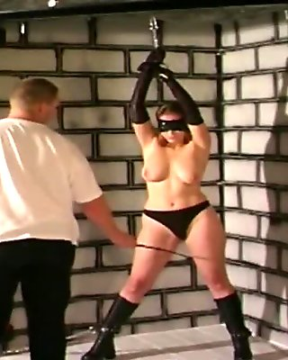 Slutty blonde whore tied and spanked