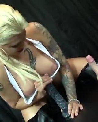 Sexy Lexi fucks herself w/ a big, black dildo