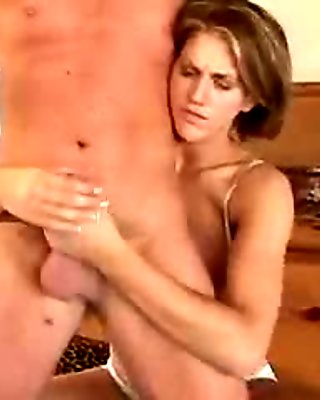 Lucky dude gets a handjob from a big tits chick