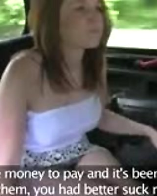 Busty brunette sucks on her taxi drivers hard cock