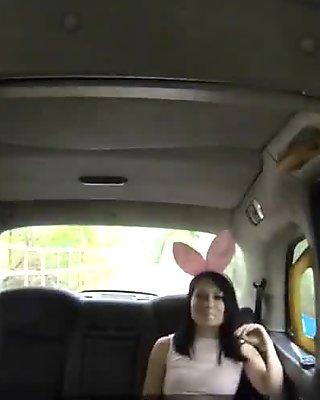 Promo babe licks female fake taxi driver