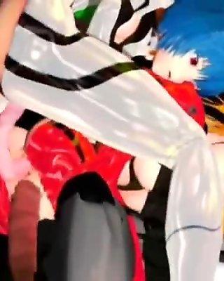 3D hentai sluts gets fucked doggie