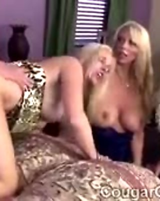 3 big stacked cougars take turns to get their twats pumped