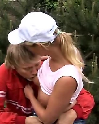 Schoolgirl blonde with big tits bouncing on dick like a champ