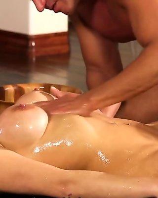 NuruMassage Big Tits Oiled Up for Big Cock