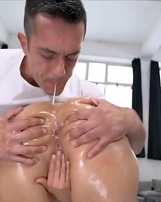 Latina titfucks oily cock