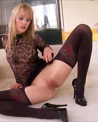 Blue Angel Solo with Double Dildo in Bodysuit Stockings