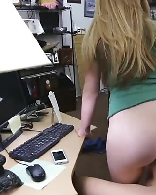 Huge boobs amateur blonde babe fucked by nasty pawn guy