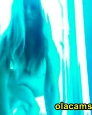 Big-tits blonde teen naked on webcam