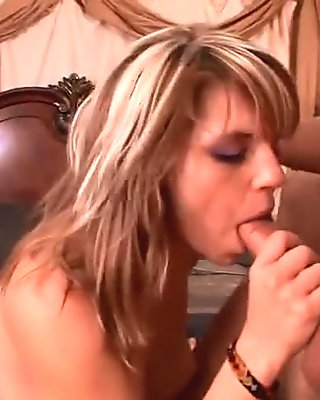 Gorgeous blonde babe bent over and fucked hard doggy style