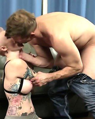 Punk rock slut rides cock
