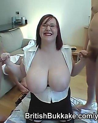 Plump big breasted Scottish readhead jizzed on