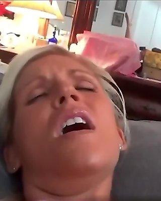 Pretty mom Vanessa on fishnet spreading pussy