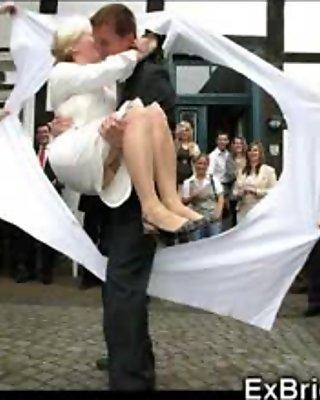 MILF and blondie team up to massage a busty brides cunt