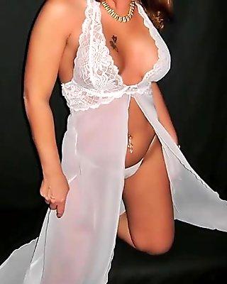 Milfs white lingerie tease & strip