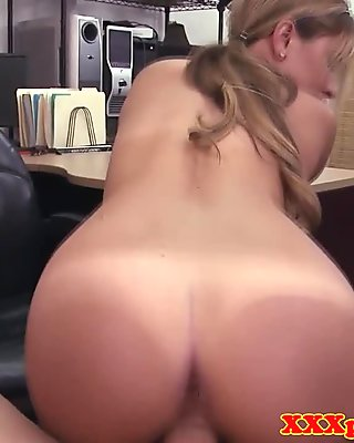 Tall babe sucks cock in the pawnshop