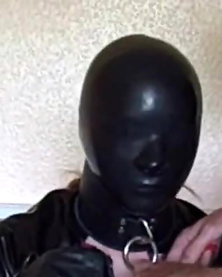 Horny darkhair sucking penis of rubber movie