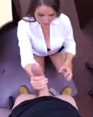 Horny babe sucking a huge hard meaty for cash